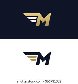 Letter M logo template. Wings design element vector illustration. Corporate branding identity