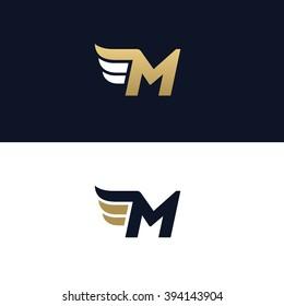 letter m logo template wings design element vector illustration corporate branding identity