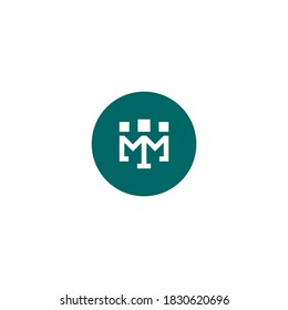 letter m logo with three human figures from a square shape inside a circle