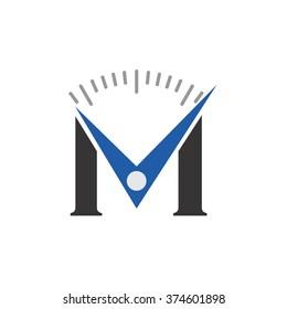 letter M logo vector. clock logo.
