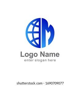 Letter M logo, world globe logo design. for business, media, internet, etc. eps vector 10.