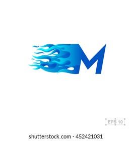 Letter F Logofire Fast Speedblue Stock Vector Royalty Free