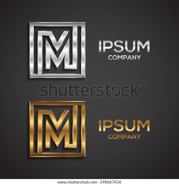 Letter M Logosquare Shape Gold Silver Stock Vector (Royalty Free