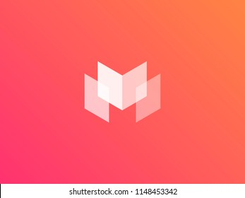 Letter M logotype. Colorful vector icon logo. Abstract geometric M sign design. Creative minimal  symbol