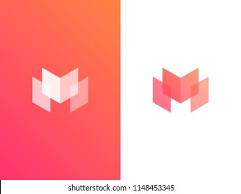 Letter M logotype. Colorful vector icon logo