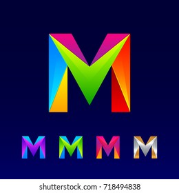 Letter M logotype design set made of 3d,Origami, Geometric and Polygon with Glossy colorful and gradient, Rainbow Vibrant Colors for your Corporate identity vector design template