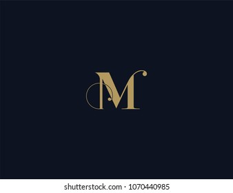 Letter M luxury logo template element.