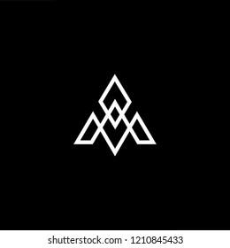 letter A M AM MA minimalist art monogram arrow shape logo, white color on black background