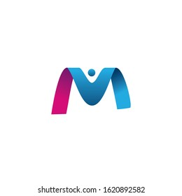 Letter M with man vector logo design. Initial letter M with human icon logo.