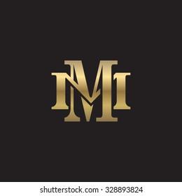 letter M and M monogram golden logo