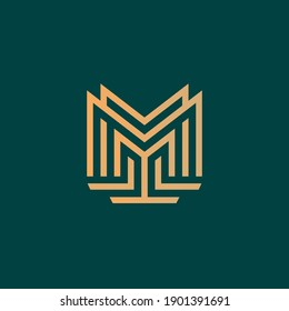 Letter M monogram line logo vector with gradient