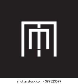 letter M and M monogram square shape logo white black background