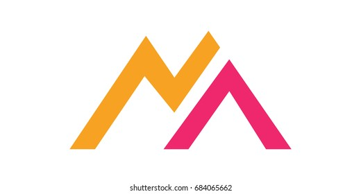 Letter M or Mountain logo design template. Brand, icon, badge or label of mountain shape. Creative Concept vector.