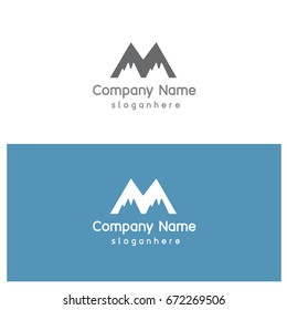 Letter M for Mountain Logo Template