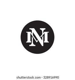 letter M and N monogram circle logo