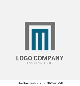Letter M AM NM logo vector. Simple and clean flat design of letter alphabet logo template, Vector Illustration
