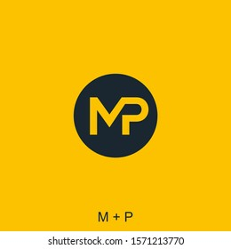 letter M and P with circle concept for icon or logo design ready to use