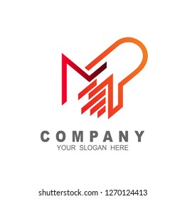 Letter m and p line logo design, logo mp with simple