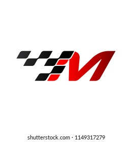 Letter M with racing flag logo
