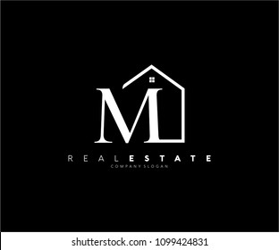 Letter M Roof House Logo Design Template