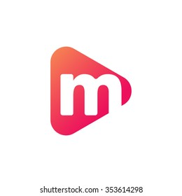 letter m rounded triangle shape icon logo orange red