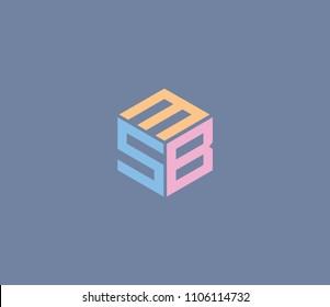 Letter M S B vector icon. initial design logo
