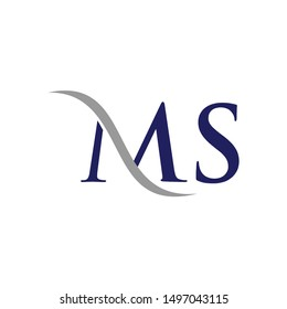 Letter M and S Logo. Swoosh Symbol. Icon Vector Eps 10.