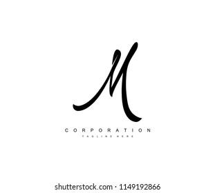 Letter M Script Vintage Monogram Corporate Logotype
