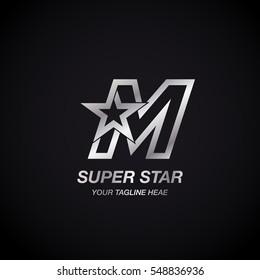 Letter M Star logo,Silver Color,Winner, Award, Premium logotype