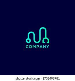letter M stethoscope medical logo vector template.