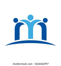 letter M and swossh person vector logo.