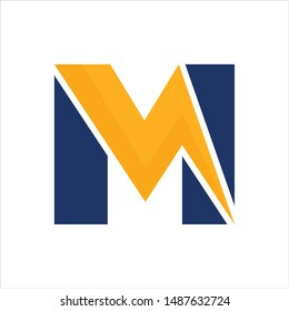 Letter M and Thunder icon. Vector logo.
