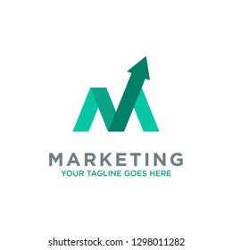 letter M trade marketing logo design vector. with initial M as chart diagram graphic
