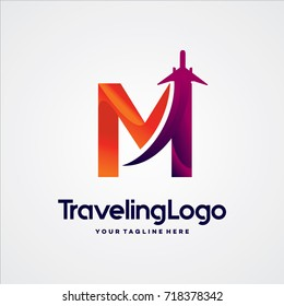 Letter M Travel Logo Template Design Vector, Emblem, Design Concept, Creative Symbol, Icon