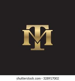letter M and U monogram golden logo