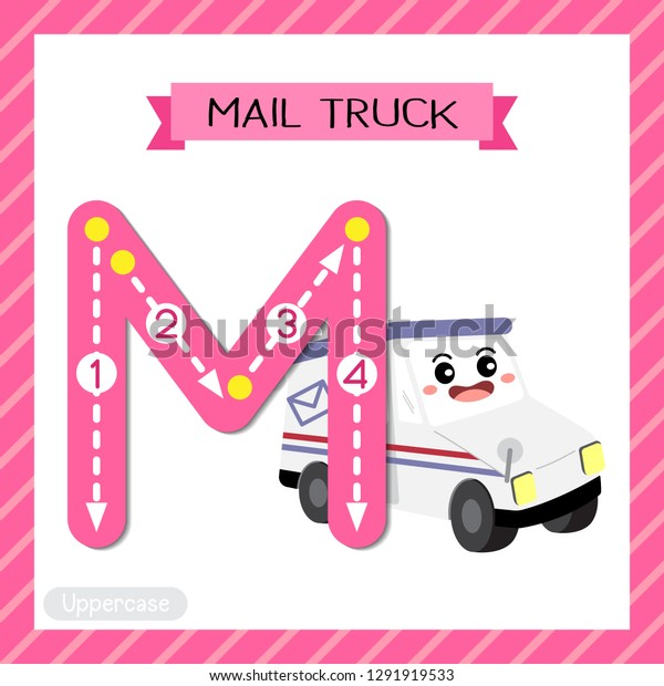 Letter M Uppercase Cute Children Colorful Stock Vector