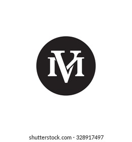 letter M and V monogram circle logo