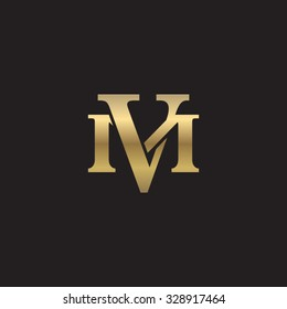 letter M and V monogram golden logo