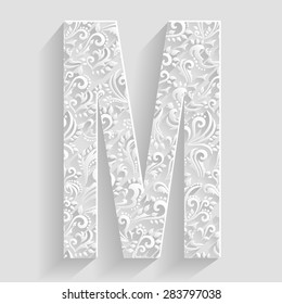Letter M. Vector Floral Invitation cards Decorative Font