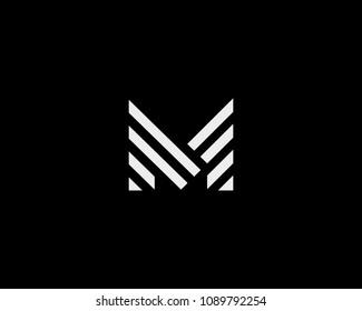 Letter M vector line logo design. Creative minimalism logotype icon symbol.