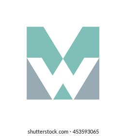 letter M and W logo vector.
