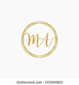 Letter MA logo template. Creative fashion logo design, couple letter , beauty icon. Initial handwriting or handwritten logo for identity. Logo with hand drawn style. wedding concept -vector