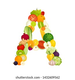 Letter A made from vegetables and fruits. Vector illustration in cartoon style. Template on the theme of healthy eating. Food laid out in the shape of a letter.