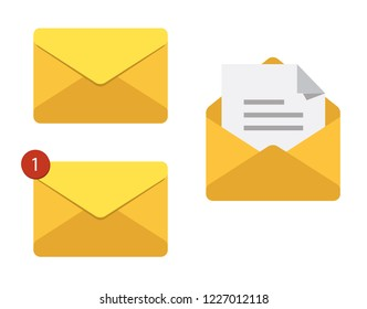 Letter in mail envelope. Set of vector illustrations. Mailbox notification or email message icons receiving emails. Correspondence paper delivery