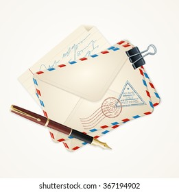 Letter Mail and Pen Vintage Style. Vector illustration