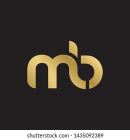 Letter mb linked lowercase logo design template elements. Gold letter Isolated on black  background. Suitable for business, consulting group company.