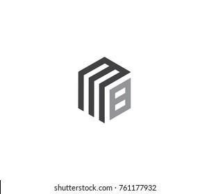 Letter MB logo. hexagon logo