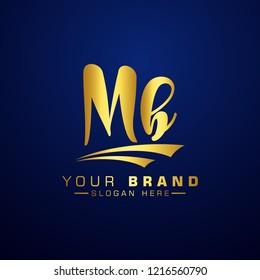 Letter MB Logo Initial. Gold Letter Design Vector Golden Luxury Colors
