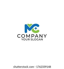 letter mc health logo design template elements,