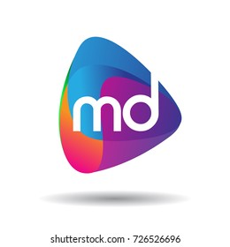 Letter MD logo with colorful splash background, letter combination logo design for creative industry, web, business and company.